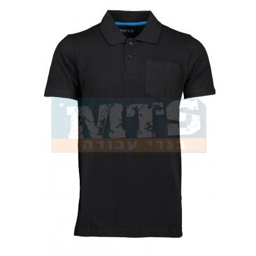 חולצת פולו עם כיס צבע שחור