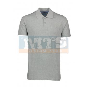חולצת פולו עם כיס צבע אפור מלנג'