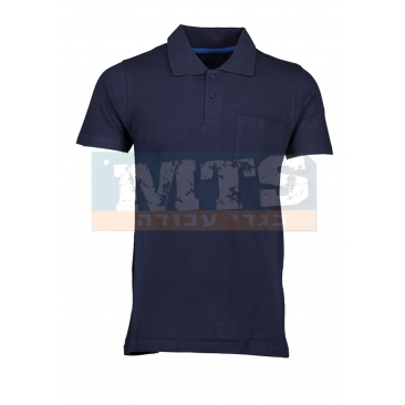 חולצת פולו עם כיס צבע נייבי